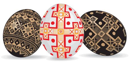 Three realistic Easter eggs in the Ukrainian style Ethnic Images