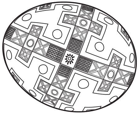 Easter egg in the Ukrainian style Ethnic Images Illustration
