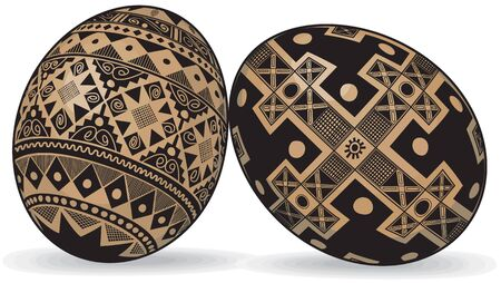 two Easter eggs in the Ukrainian style Ethnic Images