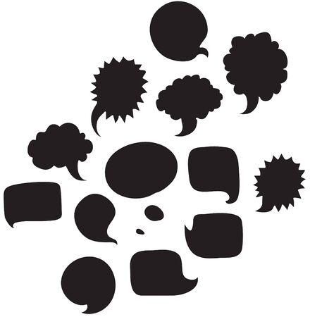 Social logo voice black set Illustration
