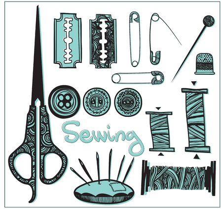refine: bicolore set per cucire accessori Vettoriali