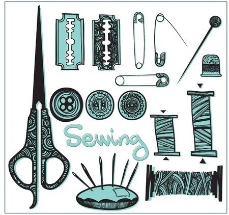 two-tone set sewing accessories Illustration