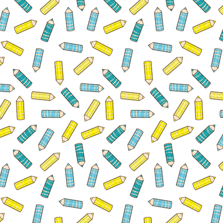 Diagonal pattern with stylized blue pencils and yellow