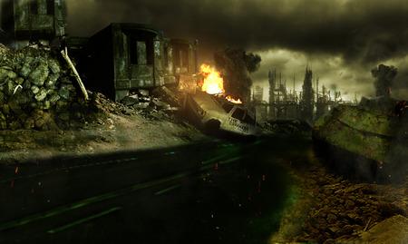 Destroyed city scene Matt painting