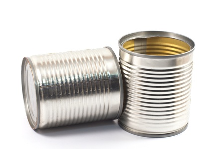 Tin can food on white background