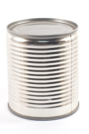 Tin can food on white background photo