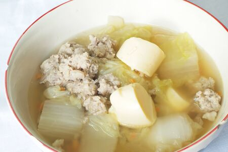 bean curd: Mild soup with vegetables, pork and bean curd