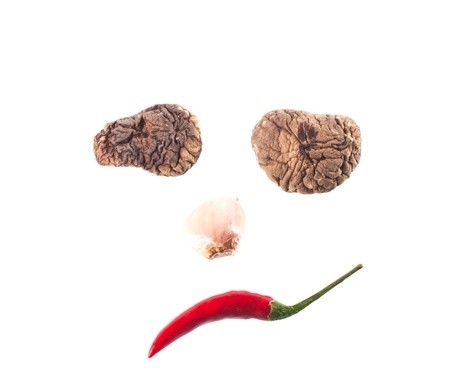 Red chili peppers in sad with garlic and shiitake  photo