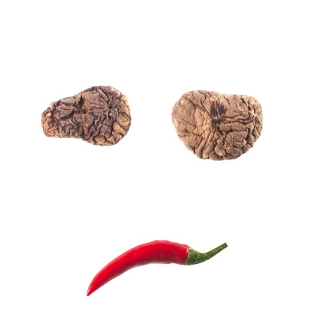 sad composed of red chili and mushrooms  photo