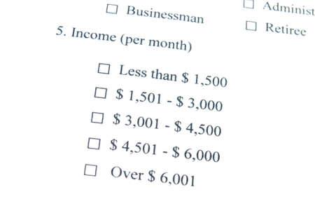 Marketing Survey, Income Stock Photo