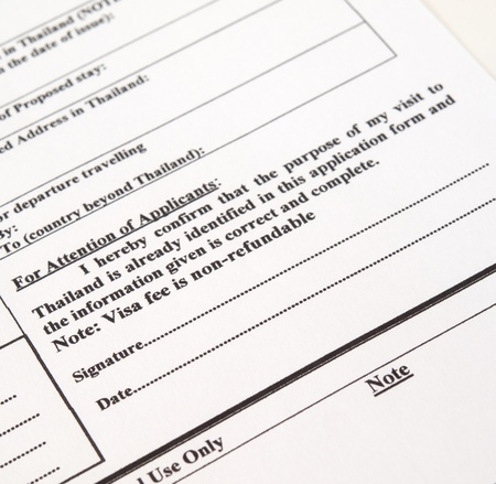 tight filled: application form for visa entry,Signature Stock Photo