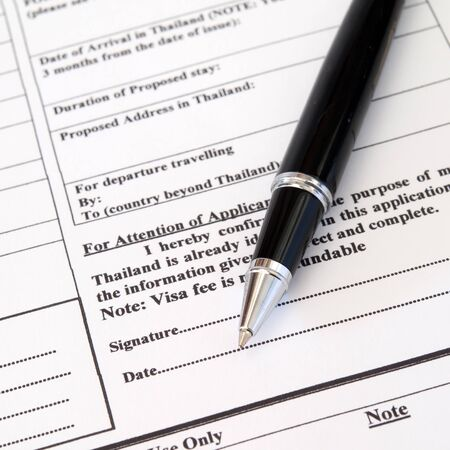 application form for visa entry,Signature Stock Photo