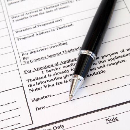 formulario de solicitud de visado de entrada, Firma Foto de archivo