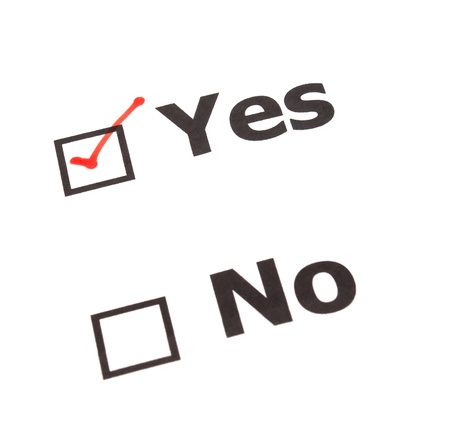 yes no: Yes No check boxes,check Yes