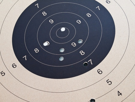 bullet hole: Close up of target shooting