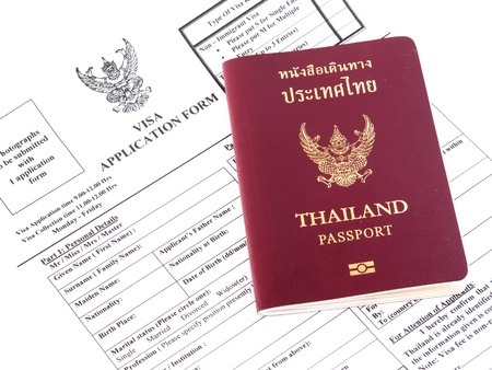 Visa application with passport Imagens
