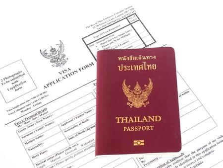 Solicitud de visa con el pasaporte Foto de archivo