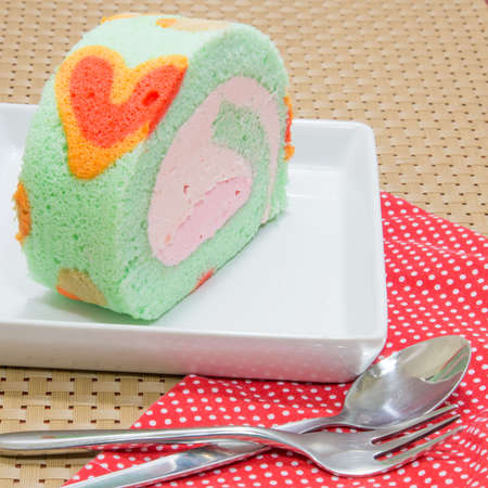 Sweet pastel roll cake photo