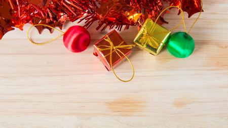 sackful: Christmas Decoration On Wood