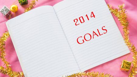 Word 2014 metas de a�o nuevo en el cuaderno Foto de archivo