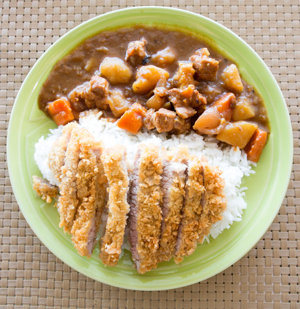 Rice with Japanese Fried pork Curry photo