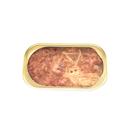 Cat food in an opened can closeup