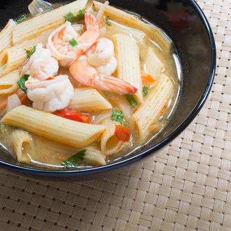 favorite soup: Penne pasta with Tom yum kung