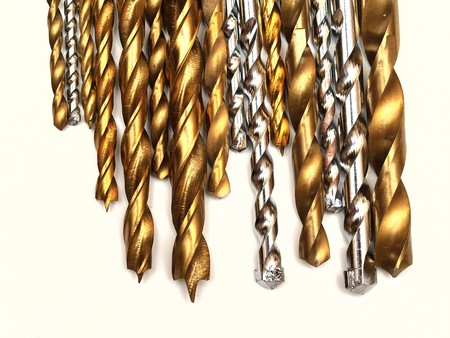 set of drill bits on white background