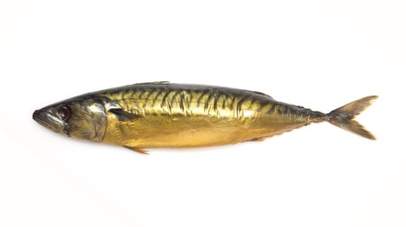 Smoked mackerel, golden color on a white background