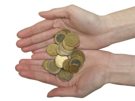 handful of euro coins in womens hands, isolated on a white background