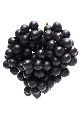 bunch ofblack grapes isolated on white