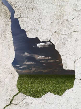 gloomy landscape through the destroyed wall Stock Photo - 8364139