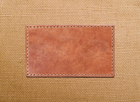 blank leather label stitched onto the canvas Stock Photo