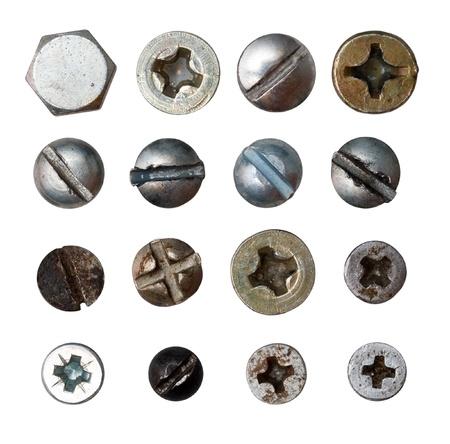 head screwed screws isolated on white Stock Photo