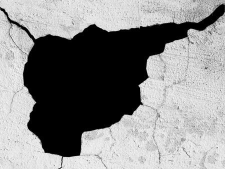 Schwarzer Hintergrund durch die zerst�rte Wand