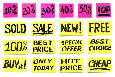 a set of labels for product promotion, handwritten paint Stock Photo