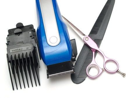 range of accessories for hairdressers isolated on white Stock Photo - 8431205