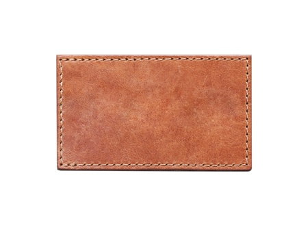 blank leather label isolated on white