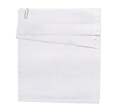 sheets of perforated paper isolated on white