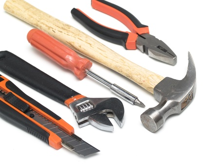 handtools: Set of handtools: hammer, cutter, spanner, screwdriver, wrench