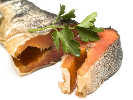 Red raw trout fish on white Stock Photo
