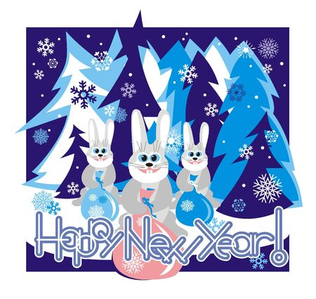 Hares in the forest holding a bag with gifts and Happy New Year. Vector illustration. Illustration