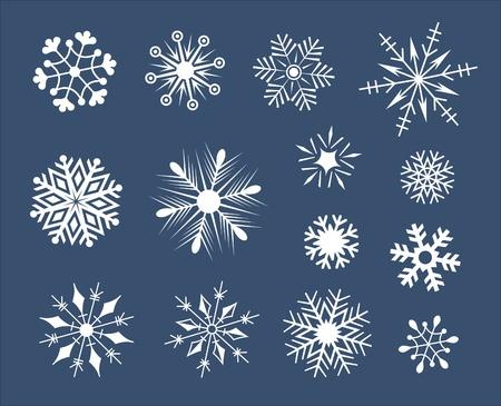 addition: Jeu de flocons de neige isol� sur blanc avec ajout d'un format vectoriel Illustration