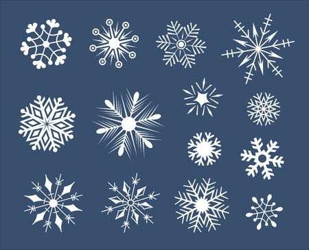 snow crystals: Set of snowflakes isolated on white with addition of a vector format Illustration