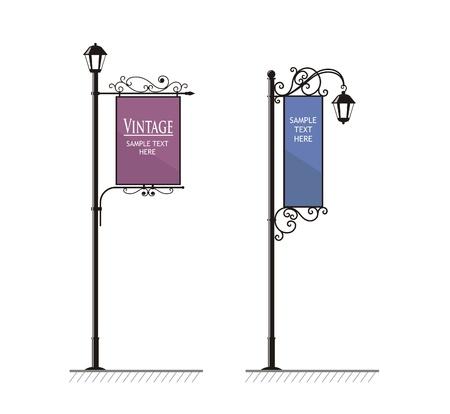 smeedijzeren straatlampen met een bord voor reclame, de vector