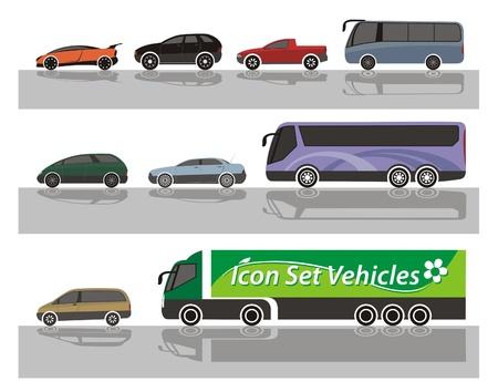 minivan: Set of vehicle icons Illustration
