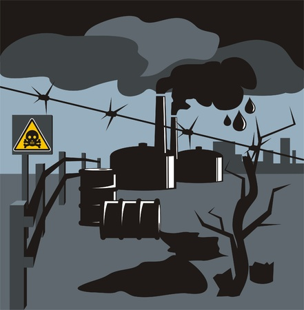 polluting: Spilled fuel and the smoke from the chimneys of industrial plants symbolize bad ecology