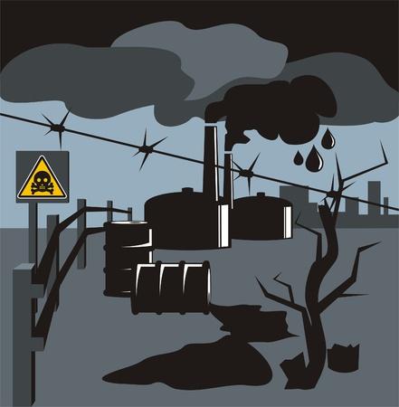 Versch�tteter Kraftstoff und der Rauch aus den Schornsteinen von Industrieanlagen symbolisieren schlecht �kologie