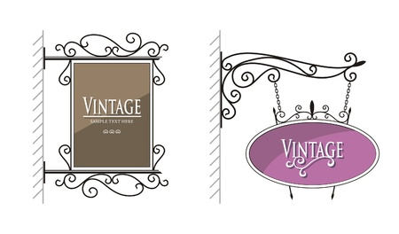 Vector vintage sign on white, vector