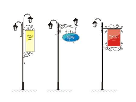 lampposts: hierro forjado farolas con un cartel de publicidad, el vector